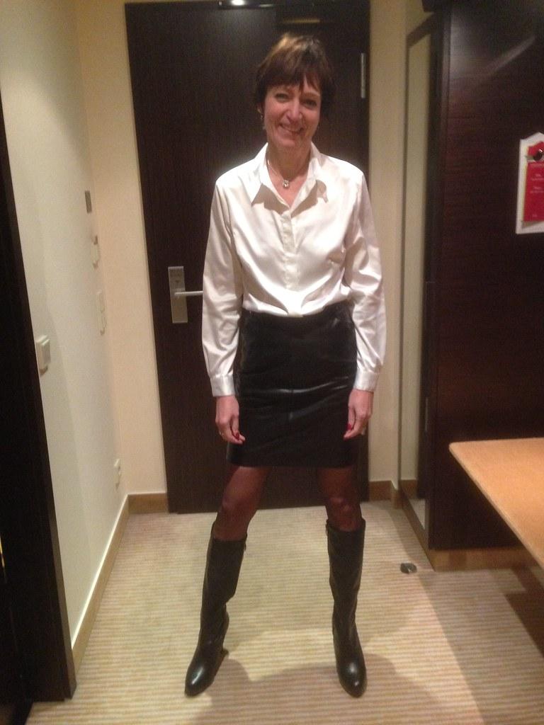 Skirt suit satin blouse panties clothed cum on blouse 6