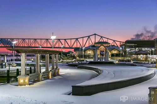 glovercary ohioriver bridge downtown riverfront winter ky smotherspark sunrise kentucky bluebridge snow