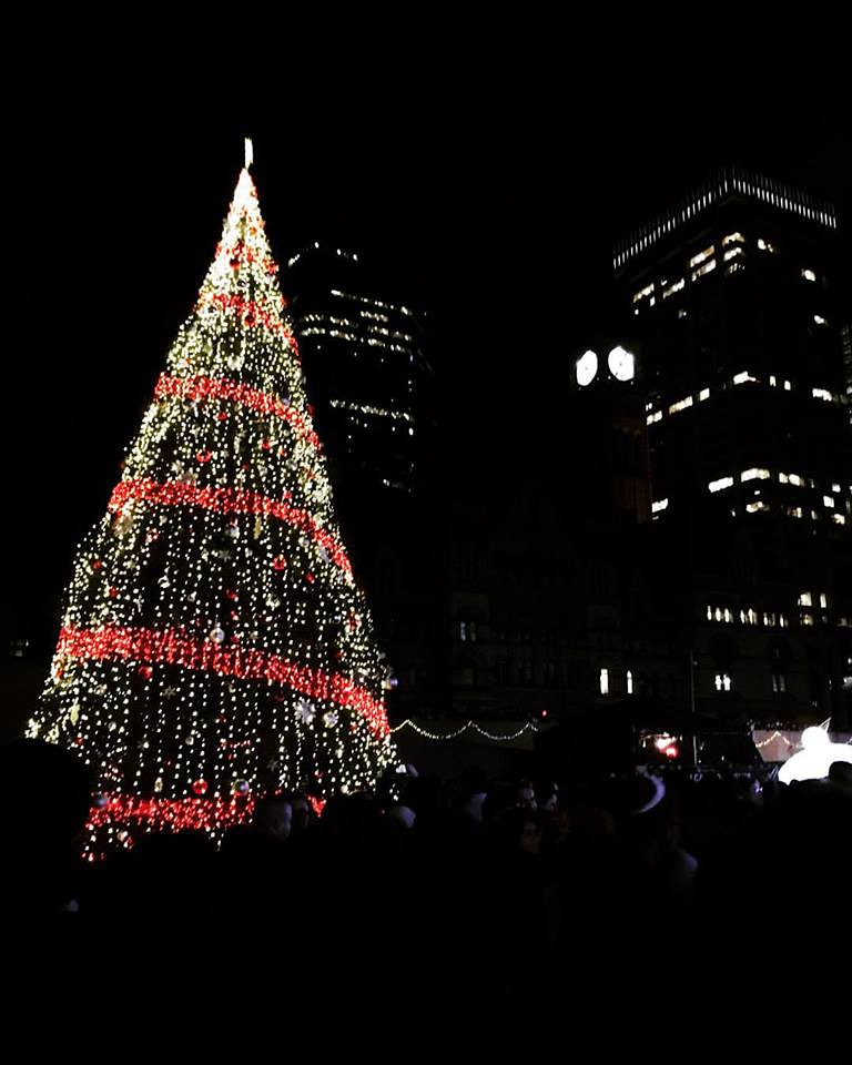 Christmas tree in Nathan Phillips Square, Toronto