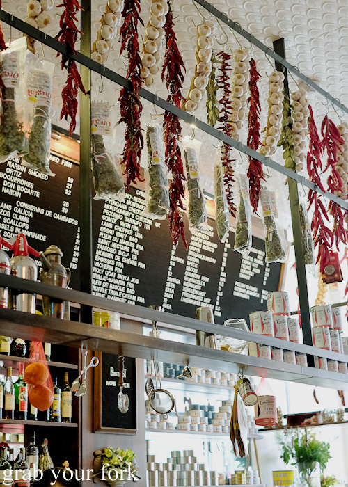 Dried chillies, garlic and oregano above the bar at Continental Deli and Bistro, Newtown Sydney food blog review