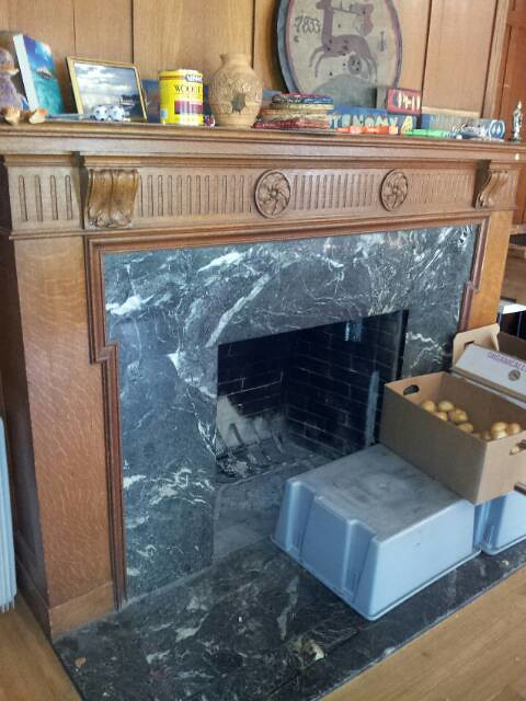 Original Marble Fire Place in Dining Area