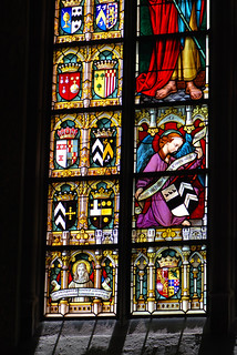 Various Belgian coats of arms in stained glass