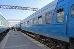 "Train ""Sharq"" to Toshkent at Buxoro train station"