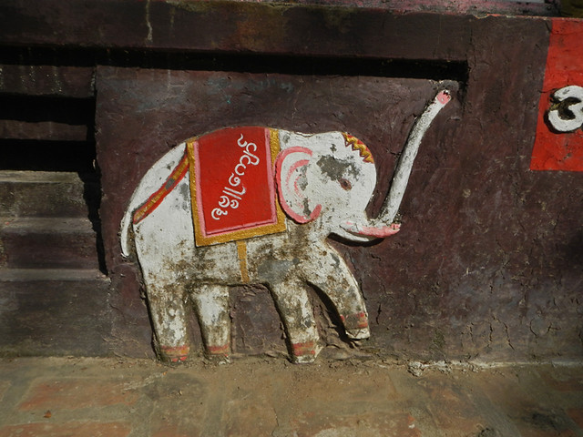 A carved elephant at U Bien Temple in Bagan, Myanmar