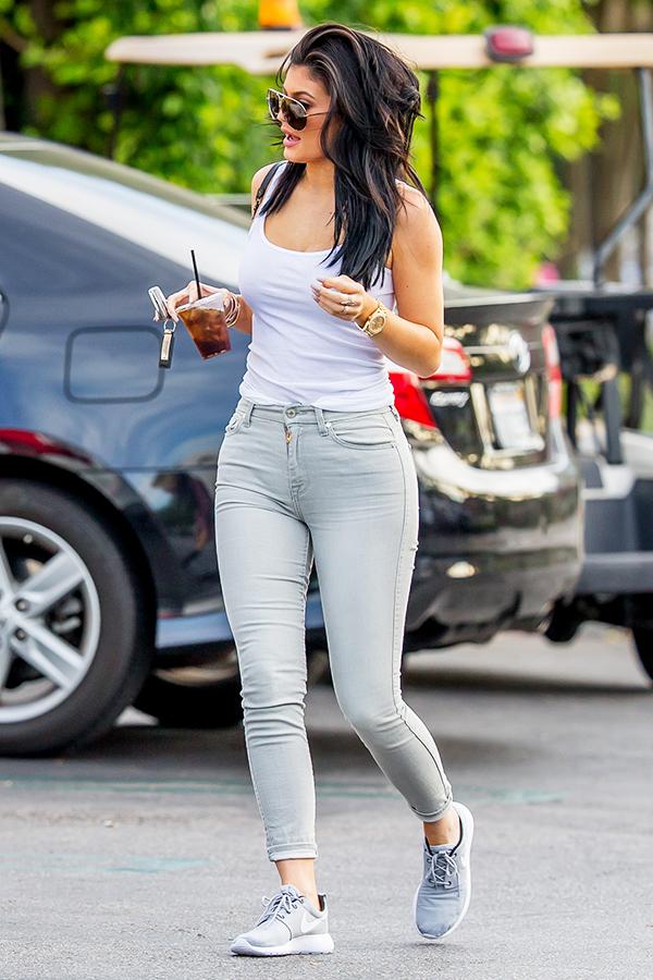 Kylie Jenner white Tank, Silver Roshe Run