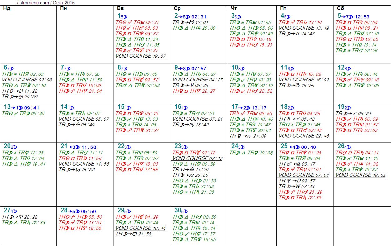 Астрологический календарь на СЕНТЯБРЬ 2015. Аспекты планет, ингрессии в знаки, фазы Луны и Луна без курса