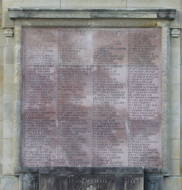 Helensburgh War Memorial Names