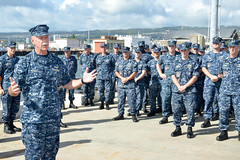 Adm. Scott Swift, commander of U.S. Pacific Fleet, addresses the crew of USS Columbia (SSN 771) during a presentation of the Arleigh Burke Fleet Trophy. (U.S. Navy/MC1 Jason Swink)