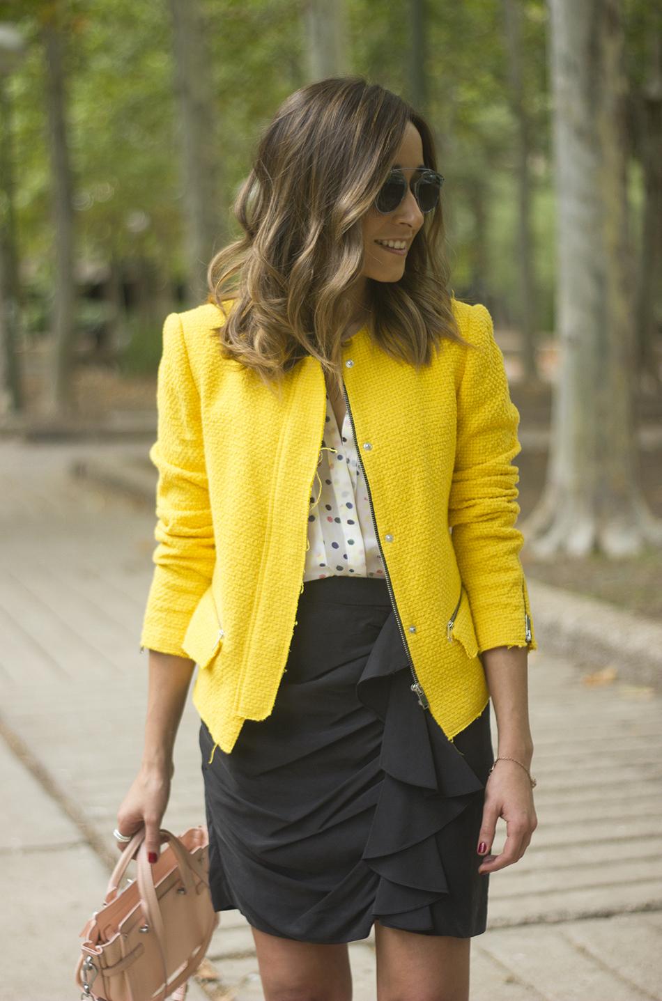 Yellow Jacket Draped Grey Skirt Outfit17