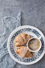 White poppy seed and almonds croissants