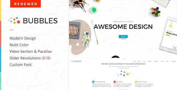 Themeforest Bubbles v1.3.1 - Parallax One Page WordPress Theme