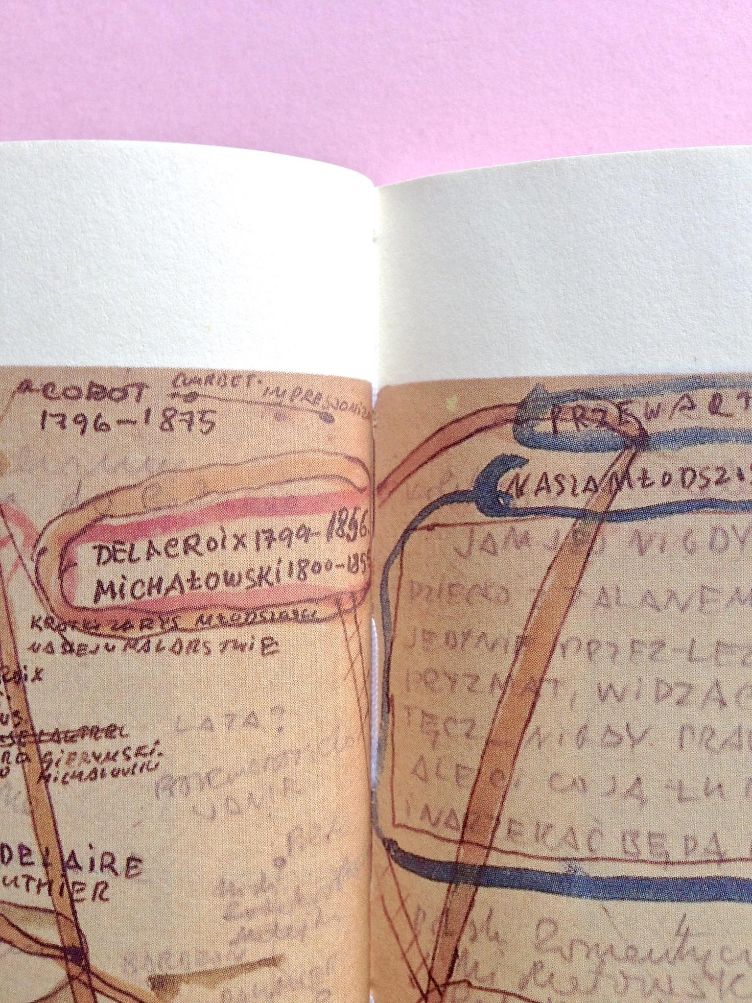 Proust a Grjazovec, di Józef Czapski. Adelphi 2015. Resp. grafica non indicata. Particolare della cucitura delle pagine e di una illustrazione a doppia pagina, a pag. 24 e 25 (part.), 1