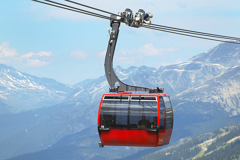 Peak 2 Peak Gondola at Whistler Blackcomb Ski Resort, Whistler BC, British Columbia.