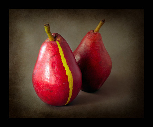 Red pear with yellow stripe