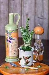 Rosemary, olive oil, pepper corn.