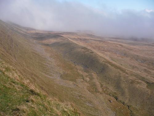 Fan Fechan (Glacial Moraine) at bottom of Fan Hir Escarpment