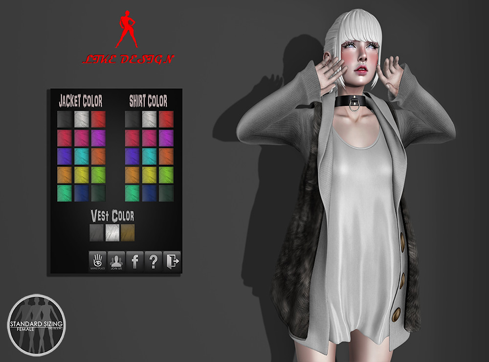 .: LIKE DESIGN :. Fur Vest Set - SecondLifeHub.com