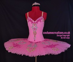 Rose Pink Tutu embellished with gold, silver and fuschia pink embroidery. Highlighted  with Gold, Silver and shades of Pink Crystals