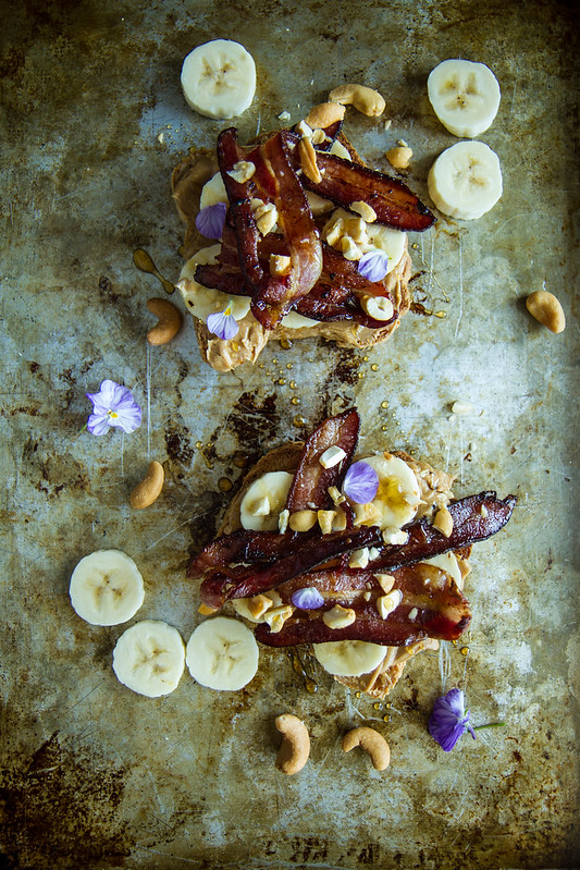 Cashew Butter Banana and Bacon Toast