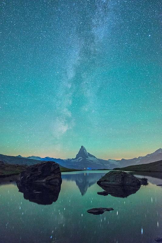 Milky way over the Stellisee - Zermatt