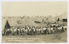 Line up for Typhoid Inoculation, Camp Doniphan, Oklahoma