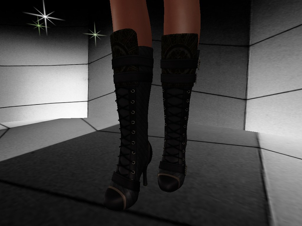 B!ASTA  JEEPERS  Laced knee hight boots (black) Twisted female secondlife-postcard