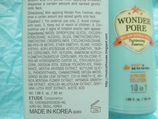 Etude House Wonder Pore Tightening Essence Ingredients