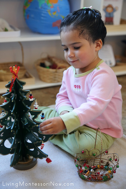 Having Fun with Montessori Miniature Tree Decorating Activity