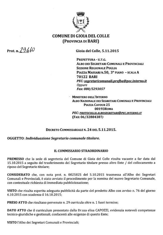 Conversano- nomina dottoressa Capozzi a segreatario comunale di Gioia del Colle