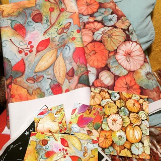 I just got my order from #spoonflower!! I could not be happier!! As you can see by the pic, I have placed my original #watercolor toward the bottom,  the colors and reprint are right on point!! Ohhhh it's just beyond words!! #pumpkin #patern #repeat #fabr
