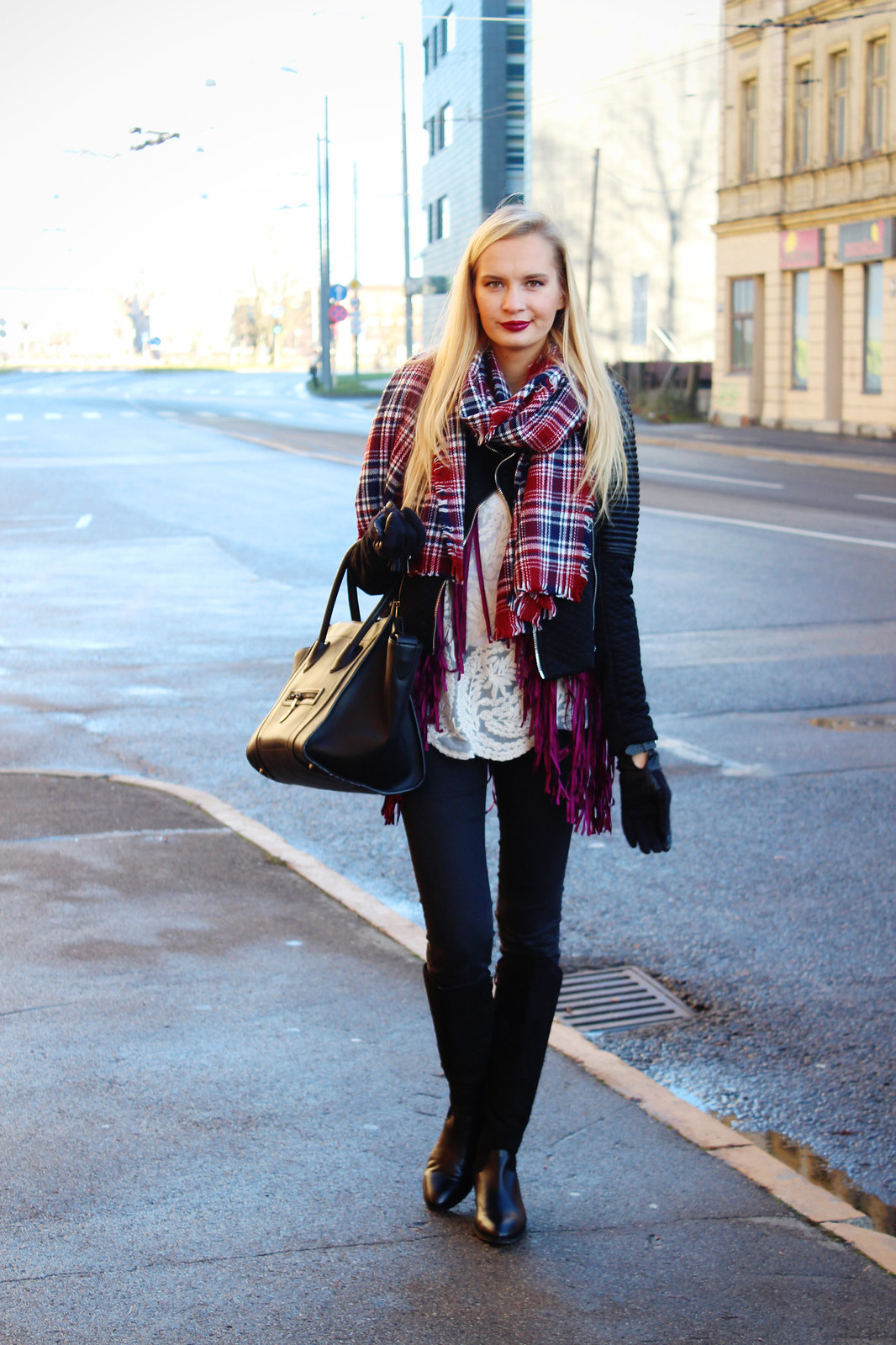 Fall outfit with burgundy