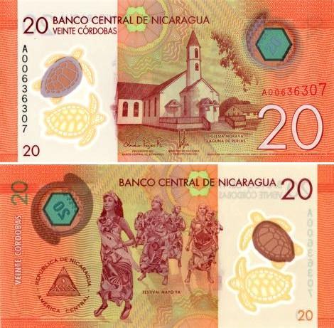 20 Córdobas Nikaragua 2015, polymer