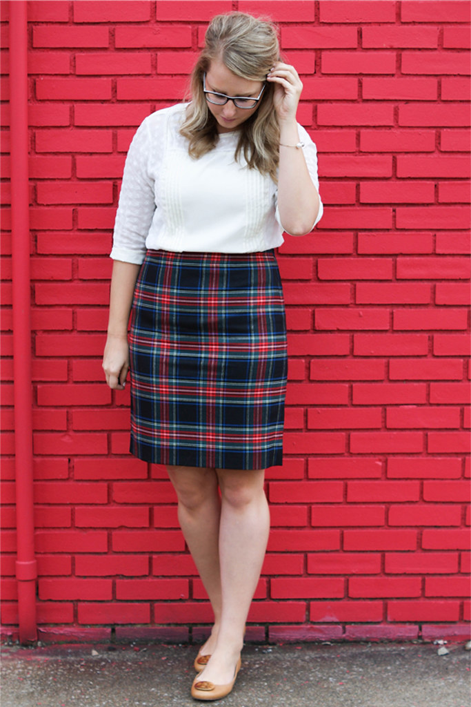 how to wear j.crew factory tartan skirt