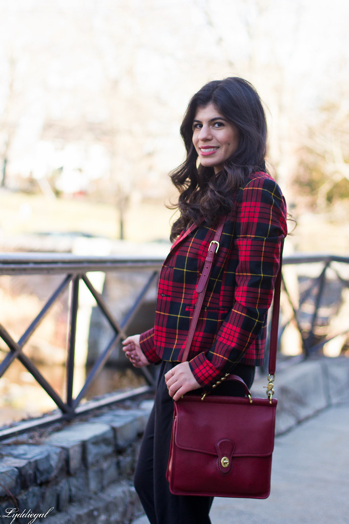 faux jumpsuit, red plaid blazer, red coach bag-5.jpg