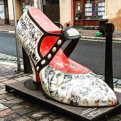 A large shoe to celebrate Andy Warhol whose family came from Slovakia. #kosice