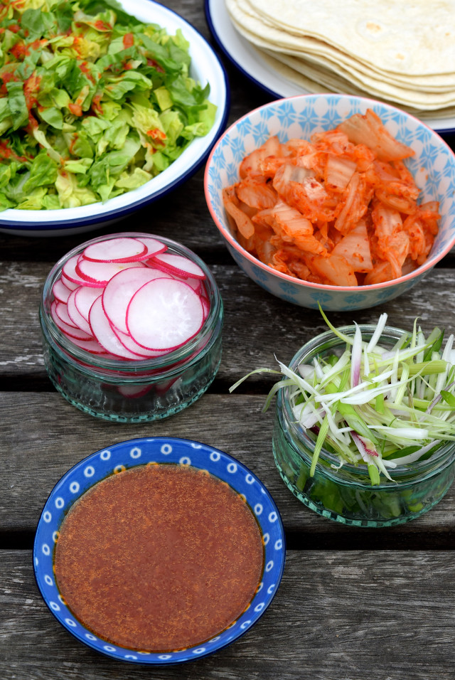 Korean Barbecue Taco Fixings