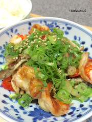 family circle's hoisin shrimp, bok choy, shiitake & red bell pepper