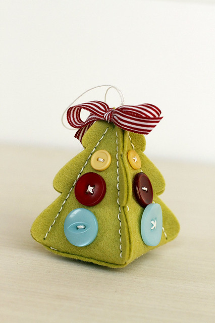 Christmas Tree Change Up Box and Stitching Dies can be used to make heirloom felt ornaments, Papertrey Ink