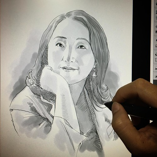 Adding some light wash over this portrait sketch.....
