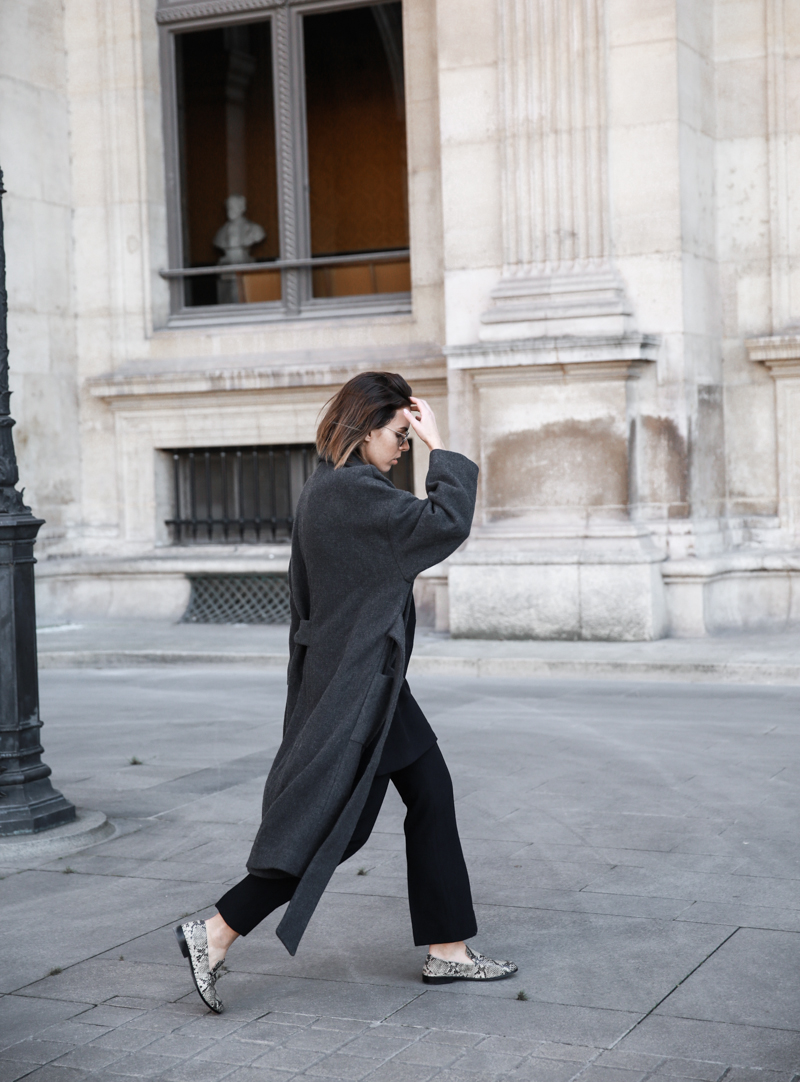 MATCHES x MODERN LEGACY RAEY new season layers Paris fashion week street style snakeskin loafers (1 of 1)