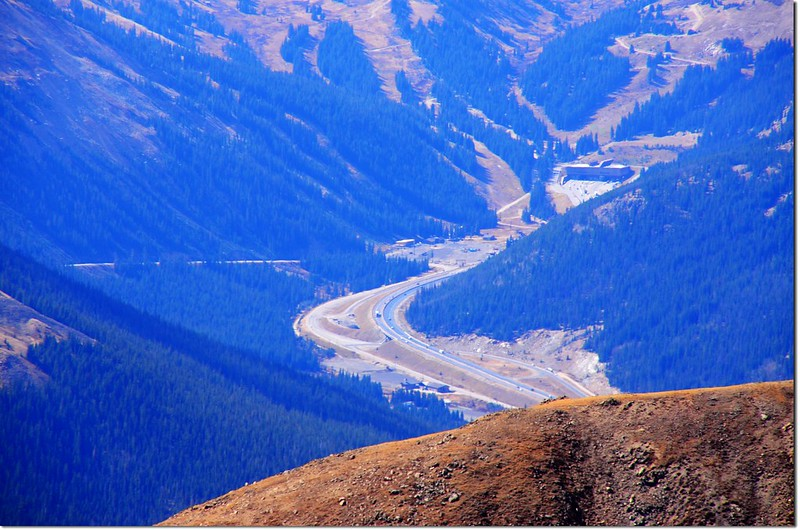 Looking down onto I-70 HWY & Eisenhower Tunnels