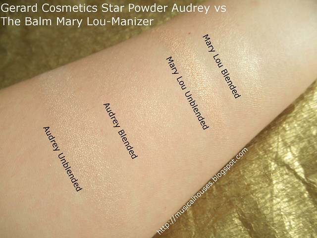 Gerard Cosmetics Star Powder Audrey TheBalm Mary Lou Manizer Comparison Swatches