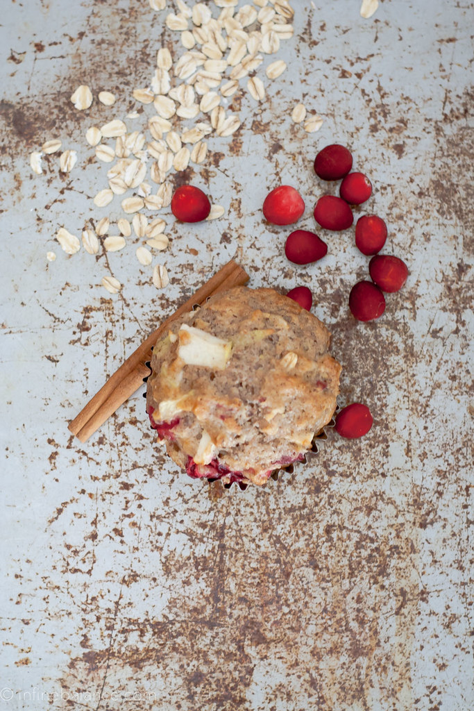 cranberry and apply muffin on a baking sheet with cinnamon and oats