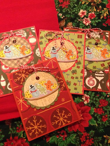 Hanging ornaments on cards.