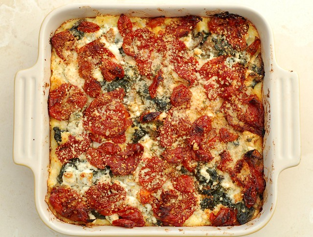 Baked Polenta with Roasted Tomatoes & Goat Cheese by Eve Fox, the Garden of Eating, copyright 2015