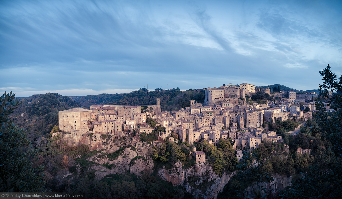 Panorama of medieval town Sorano at twilight