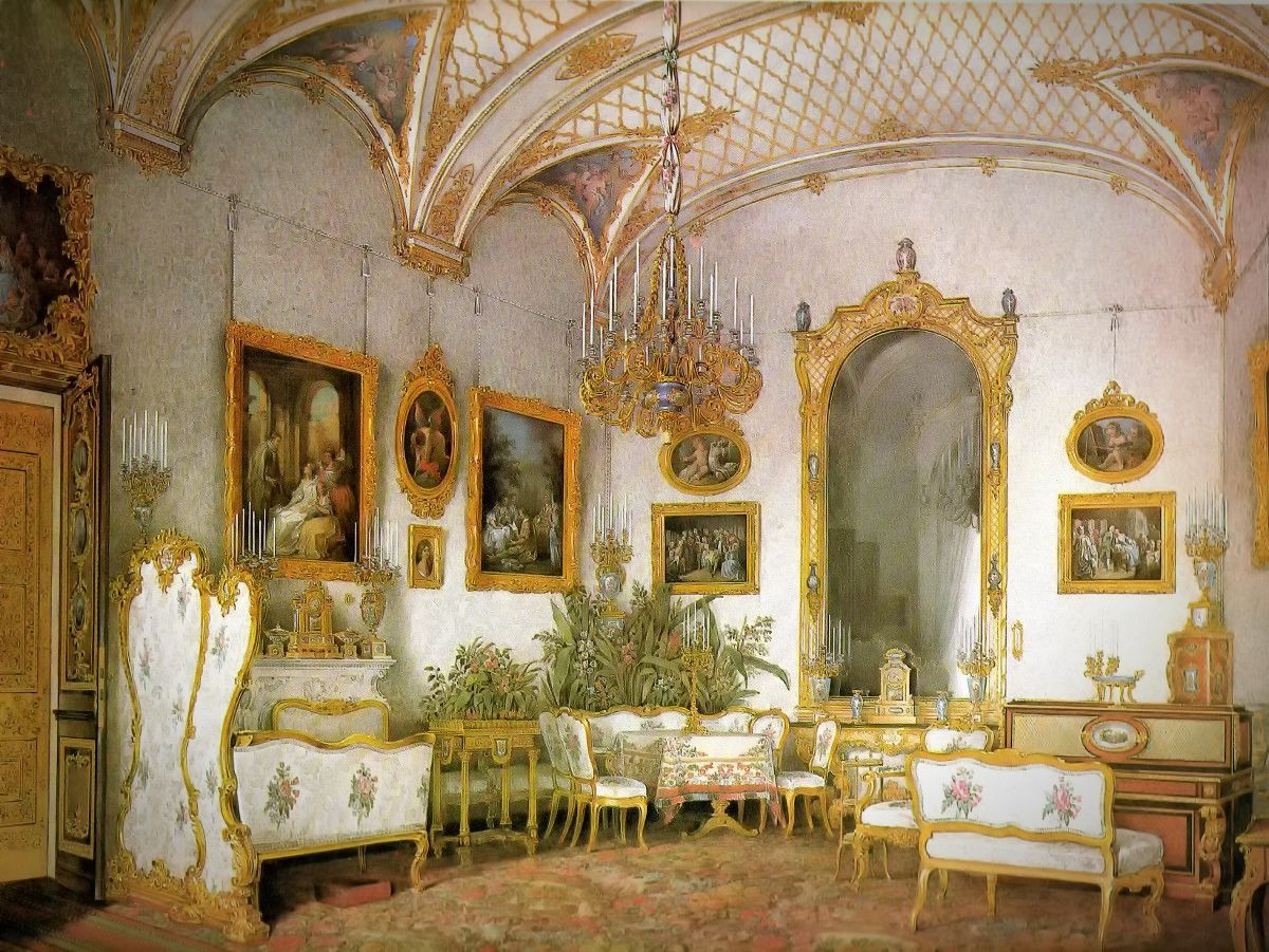The white drawing room in the North-Western Risolite (Alexandra Fedorovna suite), 1860