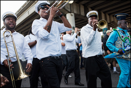 Treme Brass Band during the Black Men of Labor Social Aid and Pleasure Club annual second line parade on October 23, 2016. Photo by Ryan Hodgson-Rigsbee rhrphoto.com