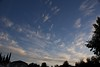 NE view of morning sky, high tropical clouds moving in.
