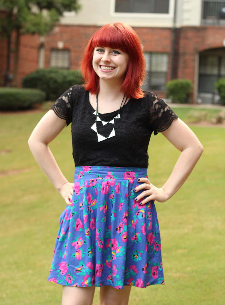 Black Lace Top, Vintage Pink, Purple, & Turquoise Floral Skirt, and Silver Triangle Necklace